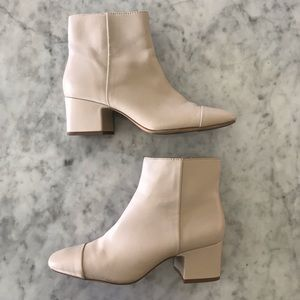 Zara Faux Leather Gray/Cream Ankle Heel Booties